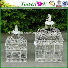 Antique Vintage Set Of 2 Pcs Metal White Wrough Iron Large Bird Cage For Wedding Decoration J13M TS05 X00 PL08-5843G