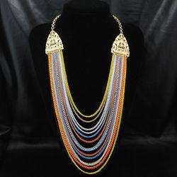 Fashion multi color chian necklace supplier china