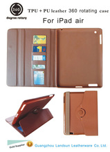 Red-hot sale 360 rotating TPU + PU leather cover for iPad air, for ipad air case