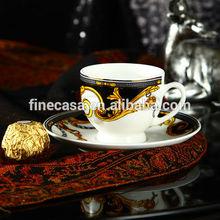 100cc di lusso bianco e nero fine bone china tazza e piattino del cavaliere