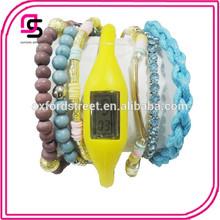 Promotional Cheap Stock 1.5usd Bead Fashion Bracelet Silicone Led Watch
