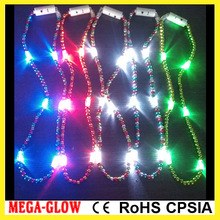 LED flashing Mardi gras necklace, Carnival Led necklace, LED plastic bead necklace