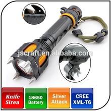Rechargeable T6 LED 1000lumen self defense emergency flashlight with alarm