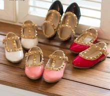 Z85075C 2015 new fashion princess rivet child girl shoes