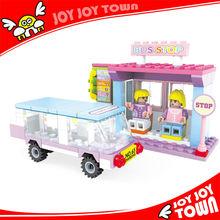mini plastic toy safes diy 3d castle puzzle houses blocks toys for kids telephone booth model bus stop building bricks E24412