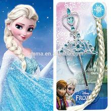 Frozen Kids Elsa Piece Wig Crown Hair Magic Wand Anna Princess Wigs Cosplay New W400