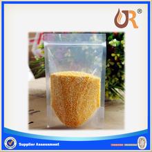 transparent stand up zipper pouch bag/ transparent zipper bag for food