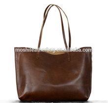 Vintage Chocolate Brown Genuine Leather Women Tote Bag
