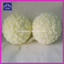 20cm Ivory Artificial Foam Kissing Rose Flower Ball Wedding Centerpiece Decoration