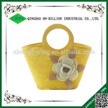 Wholesale yellow beach wheat straw bag