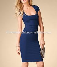 CHEFON Cap sleeve ponte women's knee length dresses sleeves