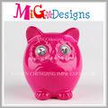 Lindo del buho del arte de cerámica para el cuadro venta al por mayor rosa acristalamiento