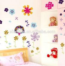 Beautiful Girl Design Waterproof Wallpaper PVC Vinyl Wall Decal Sticker Removable Home Decor Flower Wall Sticker