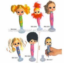 3d girl head cartoon ball pen