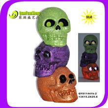 solar halloween decoration resin material skull QYS11441K-2