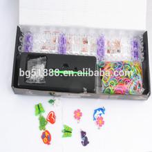 2014 DIY colorful silicone loom band kit and refill DIY rainbow rubber loom bands kit alibaba china