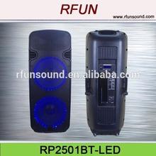 "dual 15"" protable active usb bluetooth dj speaker with LED light"