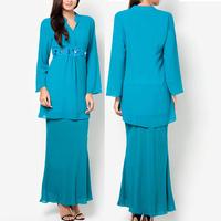 wholesale elegant muslimah dress long blue beaded chiffon women jubah