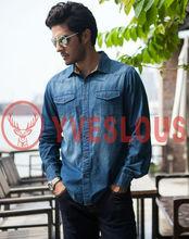 2014 wholesale mens cotton autumn shirts long sleeve denim shirts for mens