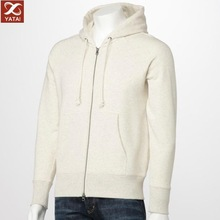 Men's Plain White Long Sleeve Thick Lining hoodie