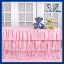 SK006C Wedding Fancy new three tiered polyester banquet ruffled pleated steps in pink table skirt