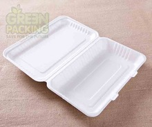 Bagasse white 10 inch compostable disposable bento box