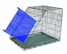 sloping safty fold wire steel travel flat carrier pet cage dog crates