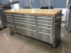 4 wheels 72 inch mobile tool cabinets tool chest box with rubber wood on top 430 Stainless steel tool storage cabinets workbench