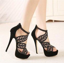 2014 sell well black and gold real leather china wholesale sandals sandal shoes sandals