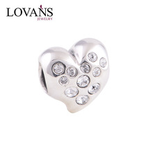 Retail 925 Silver Heart Bracelet Charm European Beads 4.5mm Hole Lovers Gifts YZ517