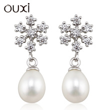2015 wholesale unique latest design of pearl earrings Made With Crystal Y20267