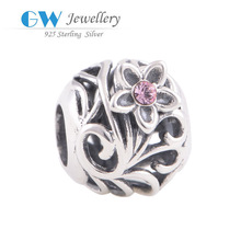 925 Silver Bead Flower European Charms Compatible With Snake Chain Charm Bracelets Vintage Silver Charms