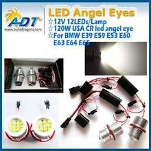 Newest Arrivel!!!NO-Error with USA CR LED 120W For BMW E39 LED angel eye headlight for BMW 1/5/6/7/M5/X5 Series