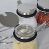 4 jars Glass flavor pot seasoning bottle sugar box lid of stainless steel