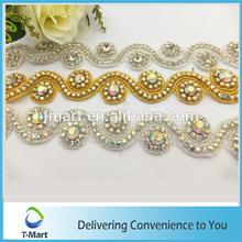 pearls bridal sash applique