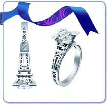 fashion eiffel tower diamond engagement silver ring