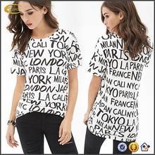 Ecoach OEM character printing women t-shirts clothing wholesaler black and white 100% cotton custom t-shirt printing