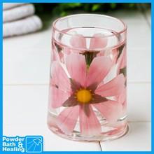 PINK FLOWER cute bathroom acrylic double layer plastic mug tumbler
