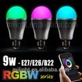 9w più popolari famoso più nuovo smart telefono senza fili applicazioni telecomando wifi portato rgbw lampadina led di colore lampadina