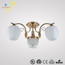 modern metal glass ceiling lamp french golden suspended ceiling lighting for shop GZ20401-3+1