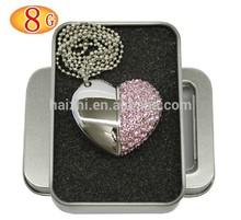 bulk 1gb 2gb 4gb diamond/jewelry heart shaped usb flash drives