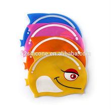 hot sale silicone swim cap, funny swimming cap for kid wholesale