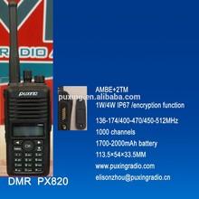 1W/4W PUXING professional DMR radio PX-820 AMBE+2TM IP67 encryption