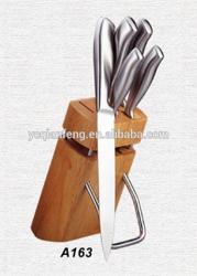 5pcs wooden kitchen knife block