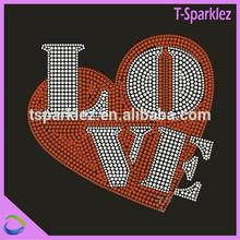 Love Heart Custom Hot Fix Rhinestone Transfer Design