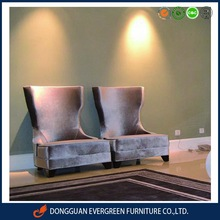 high back upholstered hotel room sofa chairs for hotel waiting chairs with grey fabric EF1441