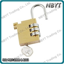 30mm 3 dial unique patent retrieve code brass combination padlock with master key