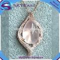s925 plata de ley colgante collar con la naturaleza de color rosa de cristal de circón y