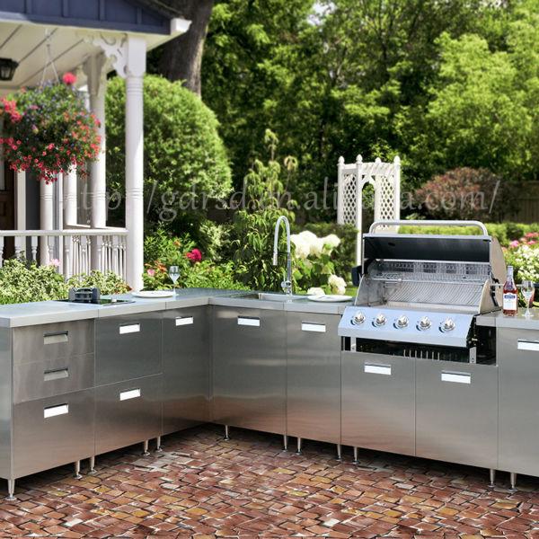현대적인 스테인레스 스틸 야외 부엌 캐비닛, 야외 주방 바베큐 ...