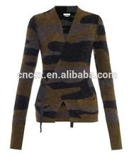 15STC9009 ladies cashmere amouflage wrap cardigan sweater